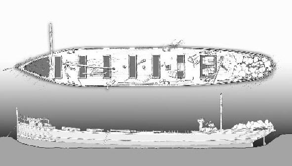 Akeley wreck drawing by Valerie van Heest