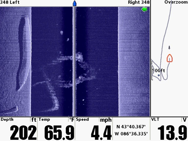 Side Scan sonar image of the Davock by Deb Chase