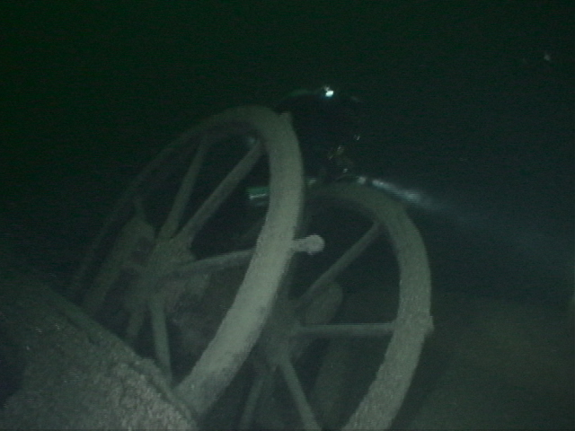 SS Michigan wheel with diver