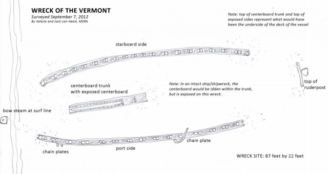 A drawing of the remains of the Vermont by Valerie van Heest