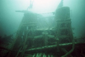 Diver Craig Rich explores the cylinder heads of the Ironsides